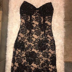 Jovani black + nude lace dress